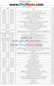 تقویم آموزشی دانشگاه پیام نور 99-98